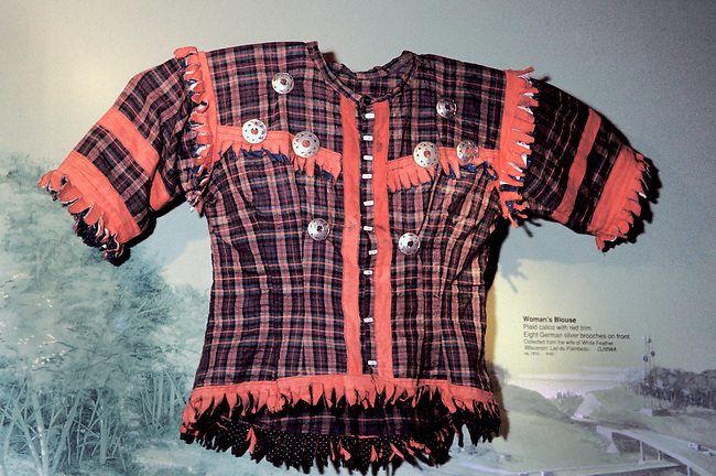 Ojibwa (Chippewa) womans plaid calico blouse with silver broaches