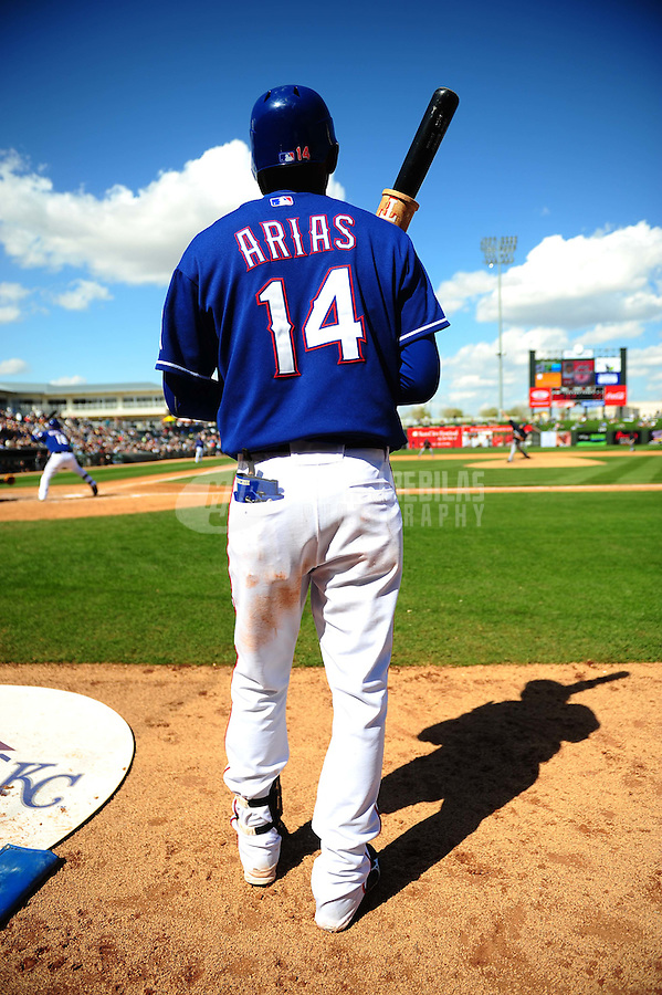 Mar. 10, 2010; Tempe, AZ, USA; Texas Rangers second baseman Joaquin Arias against the Seattle Mariners during a spring training game at Surprise Stadium. Mandatory Credit: Mark J. Rebilas-