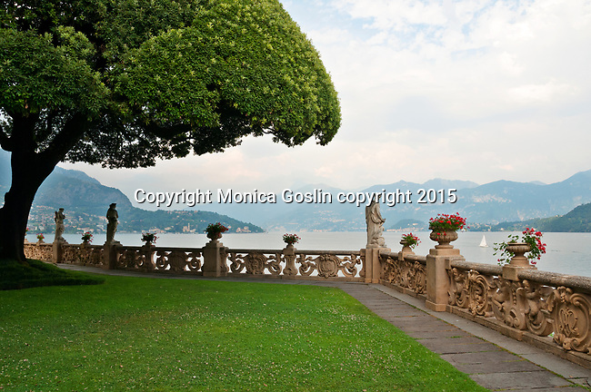 Looking out onto Lake Como, Italy from the gardens of Villa Balbianello