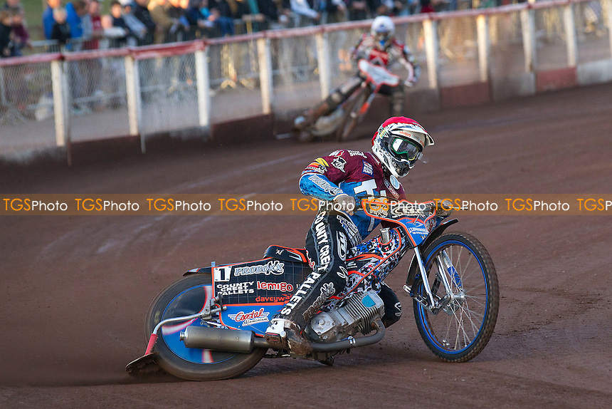 Davey Watt of Lakeside Hammers out on his own - heat 1 - Lakeside Hammers vs Belle Vue Aces - Sky Sports Elite League Speedway at Arena Essex Raceway, Purfleet - 03/08/12 - MANDATORY CREDIT: Ray Lawrence/TGSPHOTO - Self billing applies where appropriate - 0845 094 6026 - contact@tgsphoto.co.uk - NO UNPAID USE.