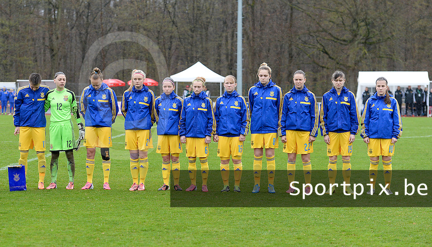20150404 - FORST , GERMANY  : Ukrainian team pictured with  Viktoriia Kyslova (12) , Tetiana Levytska (2) , Anastasiya Sirmay (4) , Veronika Andrukhiv (5) , Yuliia Shevchuk (6) , Stefania Matviishyn (8) , Viktoriya Holovach (10) , Tetyana Kozyrenko (11) ,  Tetiana Polyukhovych (16) , Sofia Ruban (19) and Roksolana Kravchuk (22) during the soccer match between Women Under 19 teams of Belgium and Ukraine , on the first matchday in group 5 of the UEFA Elite Round Women Under 19 at WaldseeStadion , Forst , Germany . Saturday 4th April 2015 . PHOTO DAVID CATRY