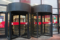 New York, NY -  29 Oct 2012 Barricaded revolving doors at the Astor Plack K-Mart which closed for Hurricane Sandy
