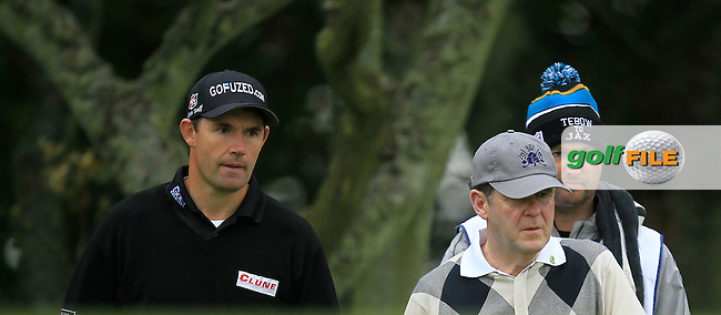 Padraig Harrington (IRL)  and J.P McManus during Round 2 of the Alfred Dunhill Links Championship at Kingsbarns Golf Club on Friday 27th September 2013.<br /> Picture:  Thos Caffrey / www.golffile.ie