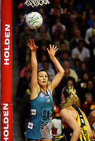 Thunderbirds goal attack Natalie Medhurst shoots for goal during the ANZ Netball Championship match between the Waikato Bay of Plenty Magic and Adelaide Thunderbirds, Mystery Creek Events Centre, Hamilton, New Zealand on Sunday 19 July 2009. Photo: Dave Lintott / lintottphoto.co.nz