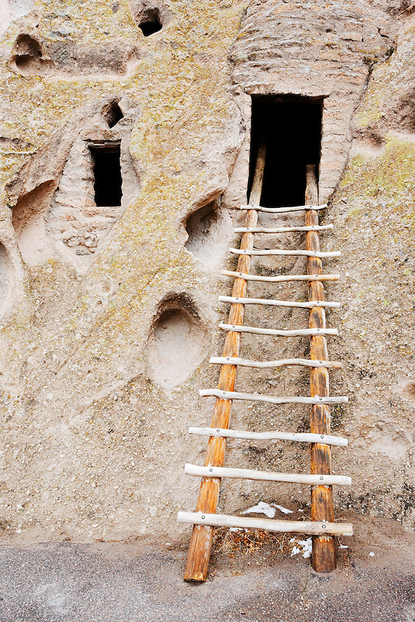 Wooden ladder and cavates, Bandelier National Monument, New Mexico, USA