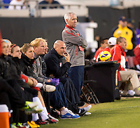 USWNT head coach Tom Sermanni watches his team during the game at EverBank Field in Jacksonville, Florida.  The USWNT defeated Scotland, 4-1.