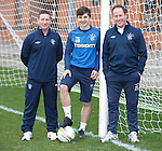 Rangers youth coaches Alan Boyd and Jim Sinclair at Murray Park with young pro player Charlie Telfer
