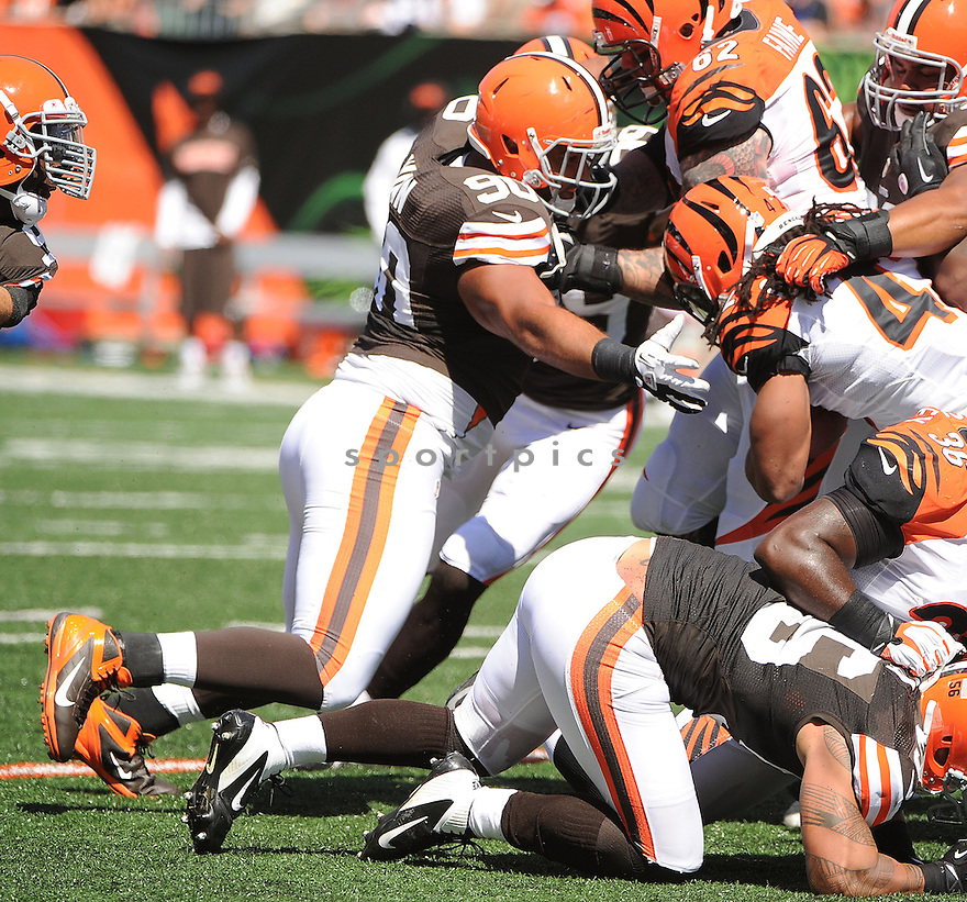 Cleveland Browns Billy Winn (90) in action during a game against the Cincinnati Bengals on September 16, 2012 at Paul Brown Stadium in Cincinnati, OH. The Bengals beat the Browns 34-27.