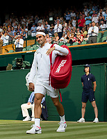 Roger Federer of Switzerland arrives on court before his victory over Dusan Lajovic of Serbia in their Men's Singles Second Round Match today - Federer def Lajovic 7-6, 6-3, 6-2<br /> <br /> Photographer Ashley Western/CameraSport<br /> <br /> Wimbledon Lawn Tennis Championships - Day 4 - Thursday 6th July 2017 -  All England Lawn Tennis and Croquet Club - Wimbledon - London - England<br /> <br /> World Copyright &not;&copy; 2017 CameraSport. All rights reserved. 43 Linden Ave. Countesthorpe. Leicester. England. LE8 5PG - Tel: +44 (0) 116 277 4147 - admin@camerasport.com - www.camerasport.com