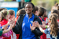 Boston, MA - Sunday May 07, 2017: Ifeoma Onumonu and fans prior to a regular season National Women's Soccer League (NWSL) match between the Boston Breakers and the North Carolina Courage at Jordan Field.