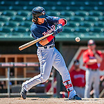31 May 2018: New Hampshire Fisher Cats infielder Bo Bichette singles in the 8th inning against the Portland Sea Dogs at Northeast Delta Dental Stadium in Manchester, NH. The Sea Dogs defeated the Fisher Cats 12-9 in extra innings. Mandatory Credit: Ed Wolfstein Photo *** RAW (NEF) Image File Available ***
