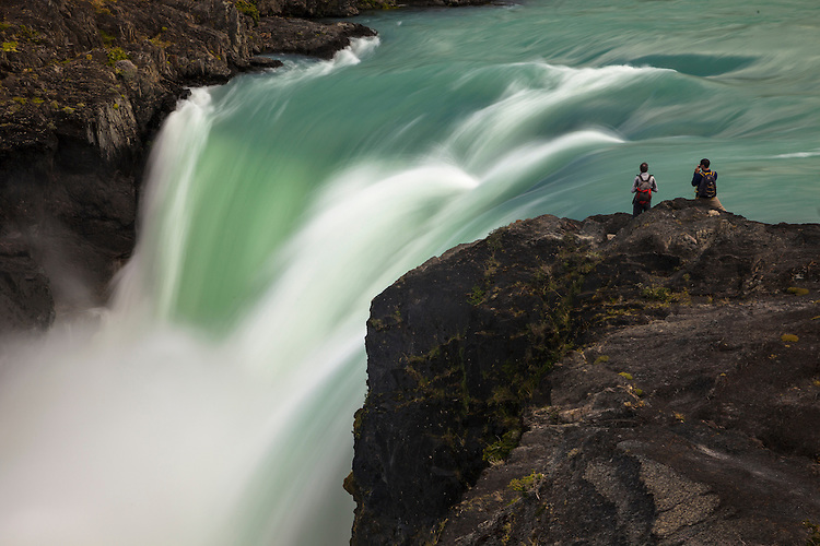 The Salto Grande Waterfall pours out of Lago Nordenskjold in Torres del Paine NP, Chile
