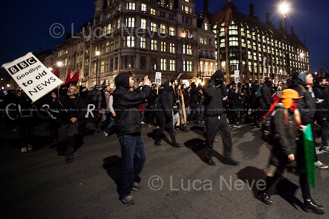 Parliament Square.<br /> <br /> London, 11/12/2013. Today, thousands of UK University students held a demonstration started outside ULU (University of London Union) in Malet Street. The aim of the demo was to protest against the alleged use of excessive violence by the Met Police against students. Moreover, these actions &lt;&lt;are about anti-privatisation and pro-workers&rsquo; struggles movement on campuses, which is facing heavy repression&gt;&gt;. Then, the demonstration spread peacefully throughout central London and ended outside the ULU (University London Union). No police were present on campus and no arrests were made.