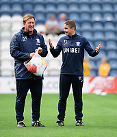 Preston North End's first team coach Steve Thompson, left, and Preston North End's fitness coach Tom Little during the pre-match warm-up<br /> <br /> Photographer Chris Vaughan/CameraSport<br /> <br /> The EFL Sky Bet Championship - Preston North End v Reading - Saturday 15th September 2018 - Deepdale - Preston<br /> <br /> World Copyright &copy; 2018 CameraSport. All rights reserved. 43 Linden Ave. Countesthorpe. Leicester. England. LE8 5PG - Tel: +44 (0) 116 277 4147 - admin@camerasport.com - www.camerasport.com