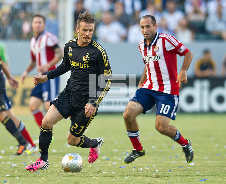CARSON, CA - July 21, 2012: LA Galaxy midfielder David Beckham (23) during the LA Galaxy vs Chivas USA match at the Home Depot Center in Carson, California. Final score LA Galaxy 3, Chivas USA 1.