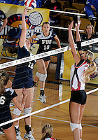 FIU middle blocker Sabrina Gonzalez (12) plays against Western Kentucky in the semi-finals of the Sunbelt Conference Volleyball Tournament.  Western Kentucky won the match 3-0 on November 18, 2011 at Miami, Florida. .