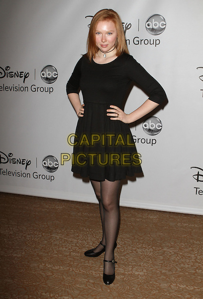 Molly Quinn.Disney ABC Televison Group's 'TCA 2001 Summer Press Tour' Held at the Beverly Hilton Hotel, Beverly Hills, California, USA..August 7th, 2011.full length black dress hands on hips.CAP/ADM/KB.©Kevan Brooks/AdMedia/Capital Pictures.