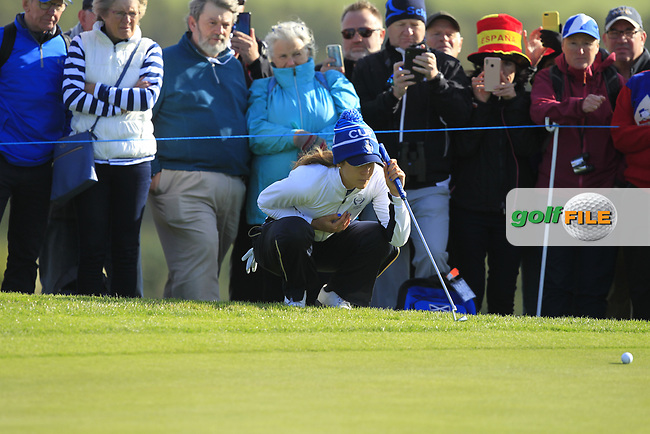 Azahara Munoz of Team Europe on the 7th green during Day 1 Foursomes at the Solheim Cup 2019, Gleneagles Golf CLub, Auchterarder, Perthshire, Scotland. 13/09/2019.<br /> Picture Thos Caffrey / Golffile.ie<br /> <br /> All photo usage must carry mandatory copyright credit (© Golffile   Thos Caffrey)
