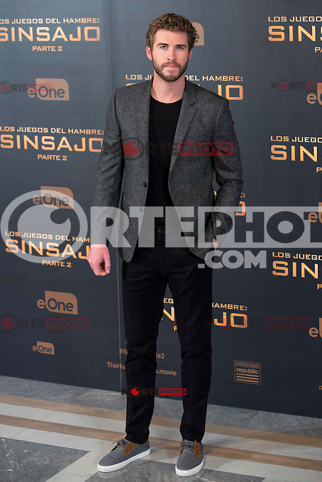 Actor Liam Hemsworth during the presentation of film &quot;The Hunger Games: Sinsajo Part 2&quot; in Madrid, Novermber 10, 2015.<br /> (ALTERPHOTOS/BorjaB.Hojas)