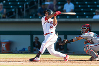 Mesa Solar Sox designated hitter Jahmai Jones (9), of the Los Angeles Angels organization, follows through on his swing in front of catcher Tres Barrera (12) during an Arizona Fall League game against the Salt River Rafters at Sloan Park on October 30, 2018 in Mesa, Arizona. Salt River defeated Mesa 14-4 . (Zachary Lucy/Four Seam Images)