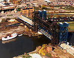 "Aerial view of the Conrail or ""Iron Curtain Bridge, this bridge spans the mouth of the Cuyahoga River, outside Cleveland Ohio."