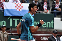 BOGOTA - COLOMBIA – 15 – 09 -2019: Franko Skugor de Croacia, celebra el punto ganado a Santiago Giraldo de Colombia durante partido de la Copa Davis entre los equipos de Colombia y Croacia, partidos por el ascenso al Grupo Mundial de Copa Davis por BNP Paribas, en la Plaza de Toros La Santamaria en la ciudad de Bogota. / Franko Skugor of Croatia, celebrates the winer point to Santiago Giraldo of Colombia during a Davis Cup match between the teams of Colombia and Croatia, match promoted to the World Group Davis Cup by BNP Paribas, at the La Santamaria Ring Bull in Bogota city. / Photo: VizzorImage / Luis Ramirez / Staff.