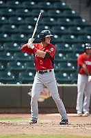 David Masters (8) of the Potomac Nationals at bat against the Winston-Salem Rayados at BB&T Ballpark on August 12, 2018 in Winston-Salem, North Carolina. The Rayados defeated the Nationals 6-3. (Brian Westerholt/Four Seam Images)