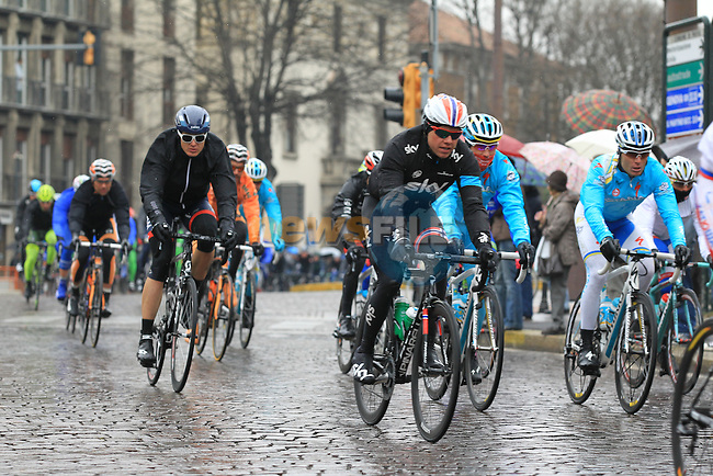 The pelethon including Norweigan National Champion Edvald Boasson Hagen (NOR) Sky Procycling pass through Pavia during the 104th edition of the Milan-San Remo cycle race, 17th March 2013 (Photo by Eoin Clarke 2013)