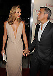 "LOS ANGELES, CA - NOVEMBER 15: Stacy Keibler and George Clooney attend ""The Descendants"" Los Angeles Premiere at AMPAS Samuel Goldwyn Theater on November 15, 2011 in Beverly Hills, California."