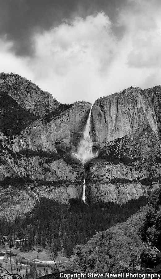 """Yosemite Falls Waterfall"" Black and White  Yosemite National Park, California. THIS A ONE OF A KIND OF YOSEMITE FALLS WATERFALL!  I spent two weeks in the Spring of 2013 climbing up the opposite canyon's wall in order to get an angle that captured all three sections of the waterfall.  I learned on the Yosemite National Park's website that no one had a photograph of the middle section of the waterfall.  Their description of the middle section is ""often ignored middle section""  All other photographers only have photographs showing an angle that has the upper and lower sections in view.  In my new vertirama (vertical panoramic) you can see the water falling in all three sections with the Yosemite Lodge down by the Merced River in the lower left."