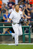 Miguel Cabrera (24) of the Detroit Tigers heads back to the dugout after hitting a 2-run home run against the Los Angeles Angels at Comerica Park on June 25, 2013 in Detroit, Michigan.  The Angels defeated the Tigers 14-8.  (Brian Westerholt/Four Seam Images)