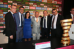 The Giro d'Italia 2018 Big Start opening Press Conference was held this morning at the Waldorf Astoria Jerusalem Headquarters. The Israeli authorities welcomed the Giro d'Italia in Jerusalem. Present were Miri Regev, Israel&rsquo;s Minister of Culture and Sport; Yariv Levin, Israel&rsquo;s Minister of Tourism; Zeev Elkin, Israel&rsquo;s Minister of Jerusalem and Heritage; Zohar Dvir, Israel&rsquo;s Deputy Police Commissioner; Sylvan Adams, Honorary President Big Start Israel; Daniel Benaim, Project Director Big Start Israel and Comtecgroup CEO; Paolo Bellino, RCS Sport Managing Director; and Mauro Vegni, Giro d&rsquo;Italia Director. Jerusalem, Israel. 2nd May 2018.<br /> Picture: LaPresse/Gian Mattia D'Alberto | Cyclefile<br /> <br /> <br /> All photos usage must carry mandatory copyright credit (&copy; Cyclefile | LaPresse/Gian Mattia D'Alberto)