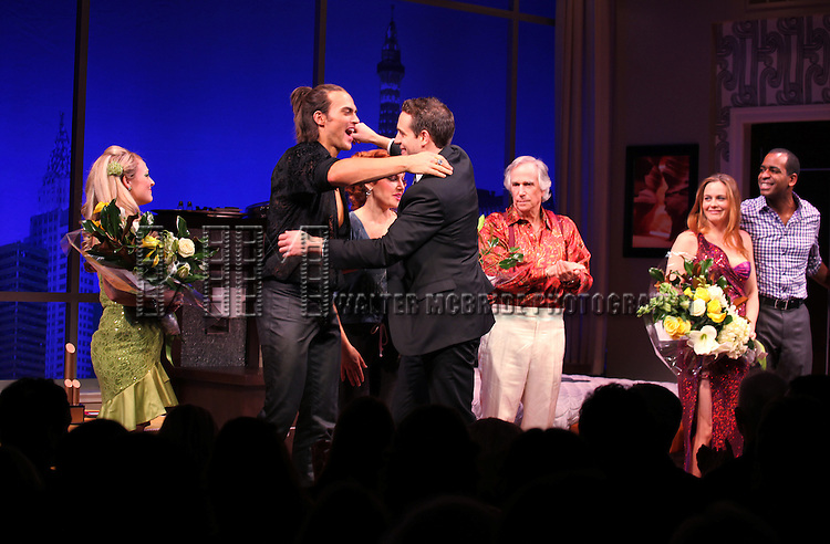 Jenni Barber, David West Read, Cheyenne Jackson, Ari Graynor, Henry Winkler, Alicia Silverstone, Daniel Breaker during the Broadway Opening Night Performance Curtain Call for 'The Performers' at the Longacre Theatre in New York City on 11/14/2012