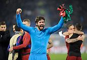 5th December 2017, Stadio Olimpic, Rome, Italy; UEFA Champions league football, AS Roma versus Qarabağ FK; Alisson Becker celebrates their win