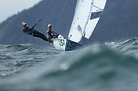 RIO DE JANEIRO, BRAZIL - AUGUST 11:  Annie Haeger of the United States and Briana Provancha of the United States compete in the Women's 470 class on Day 6 of the Rio 2016 Olympics at Marina da Gloria on August 11, 2016 in Rio de Janeiro, Brazil.  (Photo by Ezra Shaw/Getty Images)
