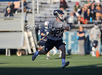 Washington, DC - February 27, 2018: Georgetown Hoyas Gavin Lindsay (23) attempts a shot during game between Mount St. Mary's and Georgetown at  Cooper Field in Washington, DC.   (Photo by Elliott Brown/Media Images International)