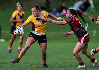 Krystal Rota of Manurewa looks to pass in the tackle of Tay-a Antonievic of Papakura. Premier Women's Rugby League, Papakura Sisters v Manurewa Wahine, Prince Edward Park, Auckland, Sunday 13th August 2017. Photo: Simon Watts / www.phototek.nz