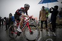 Bauke Mollema  (NED/Trek-Segafredo) up the extremely wet, cold & misty Cole di Mortirolo <br /> <br /> Stage 16: Lovere to Ponte di Legno (194km)<br /> 102nd Giro d'Italia 2019<br /> <br /> ©kramon