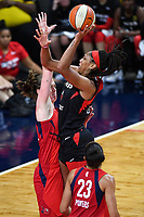 Washington, DC - Sept 17, 2019: Las Vegas Aces center A'ja Wilson (22) goes up for a shot over Washington Mystics center Emma Meesseman (33) during WNBA Playoff semi final game between Las Vegas Aces and Washington Mystics at the Entertainment & Sports Arena in Washington, DC. The Mystics hold on to beat the Aces 97-95. (Photo by Phil Peters/Media Images International)