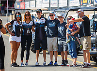 Jul 23, 2017; Morrison, CO, USA; NHRA pro stock driver Tanner Gray with crew during the Mile High Nationals at Bandimere Speedway. Mandatory Credit: Mark J. Rebilas-USA TODAY Sports