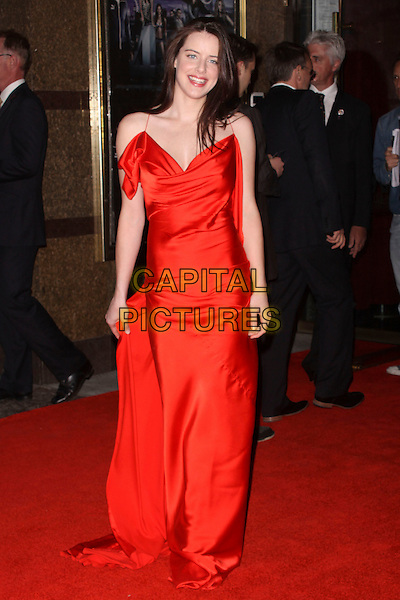 MICHELLE RYAN .World Film Premiere of '4,3,2,1' at the Empire, Leicester Square, London, England, UK, May 25th 2010 4321 4-3-2-1 arrivals full length long maxi dress  red silk satin .CAP/AH.©Adam Houghton/Capital Pictures.