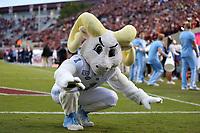 BLACKSBURG, VA - OCTOBER 19: University of North Carolina mascot Rameses dances on the sideline during a game between North Carolina and Virginia Tech at Lane Stadium on October 19, 2019 in Blacksburg, Virginia.