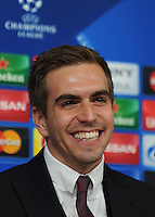 Calcio, Champions League: il calciatore del Bayern Monaco Philipp Lahm durante la conferenza stampa alla vigilia dell'andata degli ottavi di finale di Champions League contro la Juventus, a Torino, 22 febbraio 2016. <br /> Bayern's Philipp Lahm attends a press conference ahead of the Champions League first leg round of 16 football match against Juventus, in Turin, 22 February 2016.<br /> UPDATE IMAGES PRESS/StringerCalcio, Champions League: il calciatore del Bayern Monaco Philipp Lahm durante la conferenza stampa alla vigilia dell'andata degli ottavi di finale di Champions League contro la Juventus, a Torino, 22 febbraio 2016. <br /> Bayern's Philipp Lahm attends a press conference ahead of the Champions League first leg round of 16 football match against Juventus, in Turin, 22 February 2016.<br /> UPDATE IMAGES PRESS/Stringer