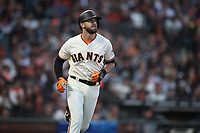 SAN FRANCISCO, CA - AUGUST 11:  Evan Longoria #10 of the San Francisco Giants runs to first base against the Pittsburgh Pirates during the game at AT&T Park on Saturday, August 11, 2018 in San Francisco, California. (Photo by Brad Mangin)