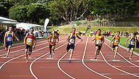 Waikato Bay of Plenty's Joseph Millar (second left) wins the men's under-16 100m final during the National athletics championships at Newtown Park, Wellington, New Zealand on Friday, 27 March 2009. Photo: Dave Lintott / lintottphoto.co.nz