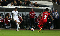 Pictured: (L-R) Angel Rangel, Raheem Sterling.<br /> Monday 16 September 2013<br /> Re: Barclay's Premier League, Swansea City FC v Liverpool at the Liberty Stadium, south Wales.