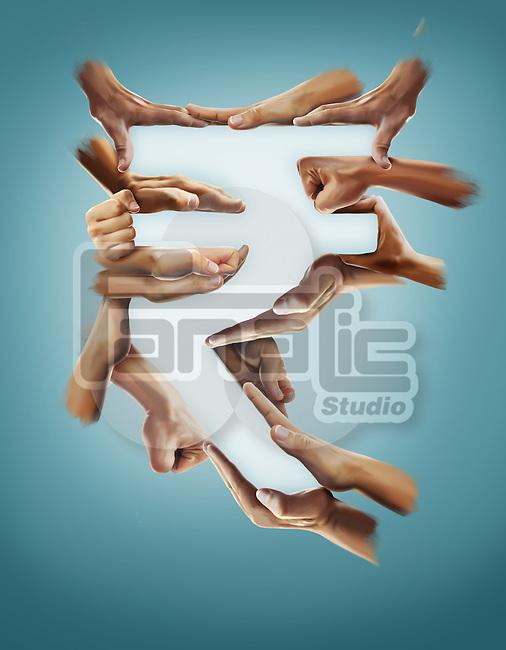 Illustrative image of hands forming rupee sign against blue background