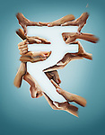 Illustrative image of hands forming rupee sign against blue background