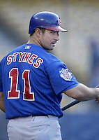 Chris Stynes of the Chicago Cubs before a 2002 MLB season game against the Los Angeles Dodgers at Dodger Stadium, in Los Angeles, California. (Larry Goren/Four Seam Images)
