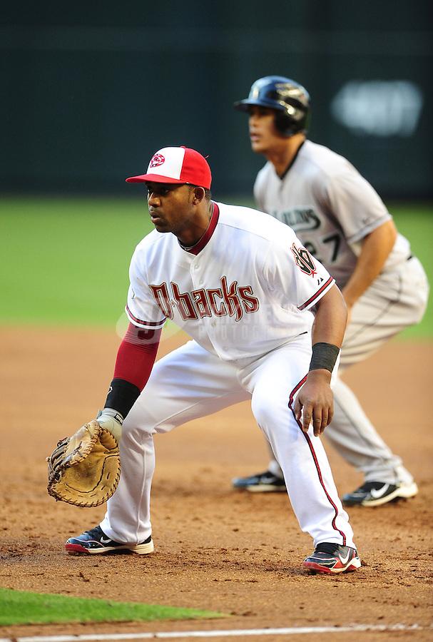 May 30, 2011; Phoenix, AZ, USA; Arizona Diamondbacks first baseman Juan Miranda against the Florida Marlins at Chase Field. Mandatory Credit: Mark J. Rebilas-